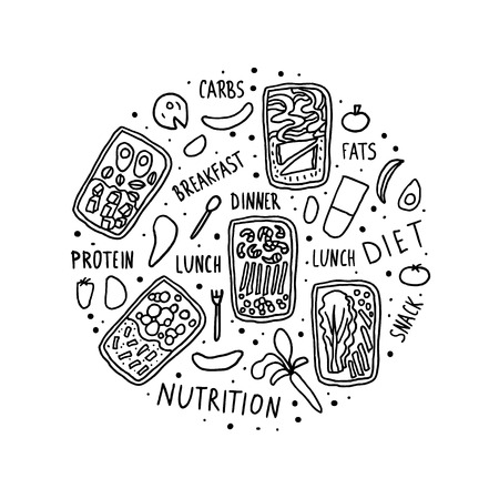Lunch boxes and food with hand lettering circle composition. Healthy homemade meals in doodle style isolated on white background. Vector diet round illustration.