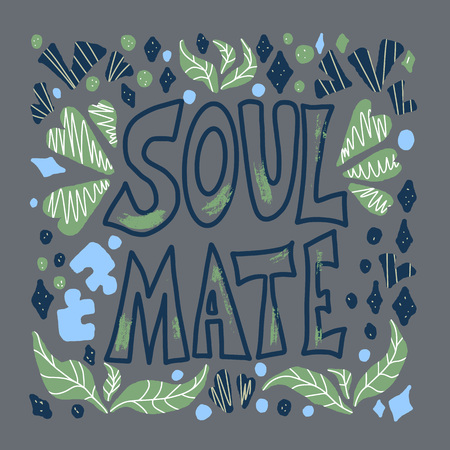 Soulmate quote with hearts, puzzles, leaves decoration isolated. Poster template with handwritten lettering soul mate and design elements. Square banner with text. Vector conceptual illustration.