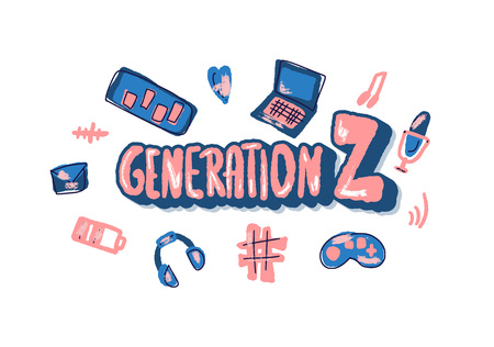 Generation z concept. Text with digital symbols. Vector color illustration.