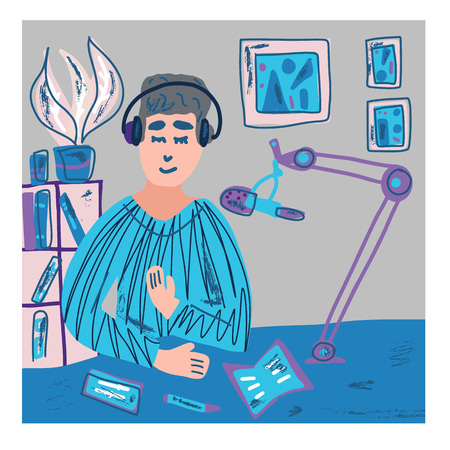 Young man recording a podcast in a studio. Podcaster in his room  talking on mic. Square poster for podcast tutorial and course. Vector illustration.