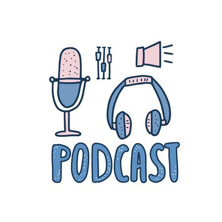 Godło podcastu z odręcznym napisem i dekoracją. Symbole tekstowe i podcasty na białym tle. Ilustracja wektorowa.