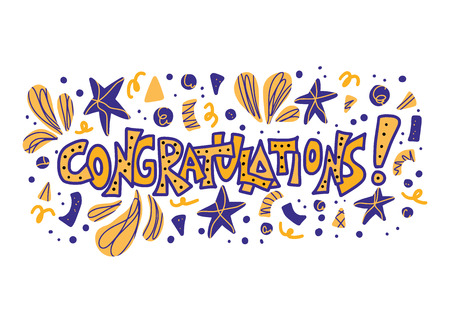 Congratulations word.  Hand drawn quote for holiday design. Vector stylized lettering with confetti decorations.