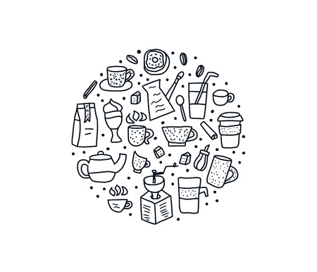 Coffee set round badge in doodle style. Vector black and white design illustration.