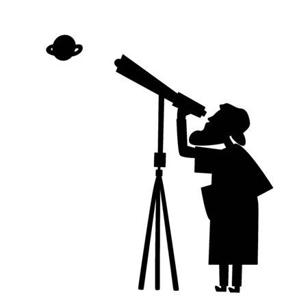 Silueta de astrónomo de vector con telescopio. El anciano está viendo con un buscador de cometas.