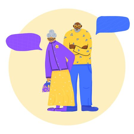 Couple of elderly people. Husband and wife standing full length with speech bubbles. Vector flat illustration.