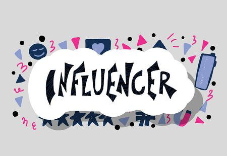 Influencer sticker. Promotion word with decoration. Template for banner. Vector color quote. Illustration