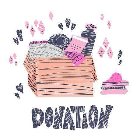 Donation concept. Box with stuff and text. Donate things with lettering isolated on white background. Charity elements in flat style. Vector color illustration.