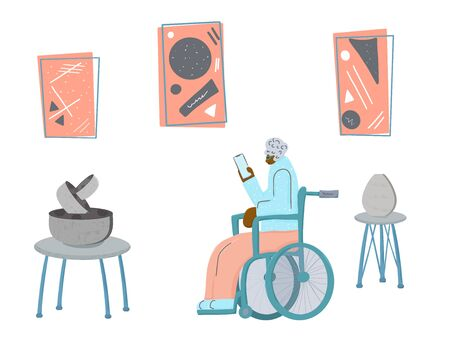 Exhibition visitor. Senior woman sitting in her wheelchair. Elderly lady with phone is at contemporary art gallery. Vector character design in flat style. Illusztráció