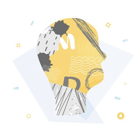 Mental health concept. Human head with gears and collage decoration. Vector illustration.