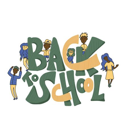 Back to school text for banner. Template for sale cards and promotion. Lettering with children characters. Vector illustration.