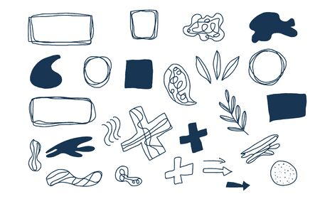Collage elements set. Doodle artistic shapes and graphic textured signs. Vector different abstract symbols for banner.