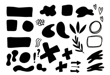 Collage silhouette elements set. Doodle artistic shapes and graphic textured signs. Vector different abstract symbols for banner, poster, card, invitation, placard, brochure, flyer, print. Ilustrace