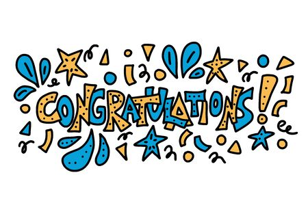 Congratulations.  Handdrawn text for holiday design. Vector stylized lettering with confetti decorations. Illusztráció