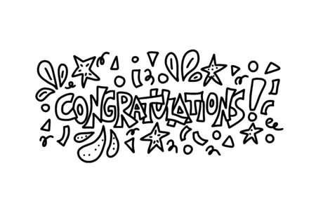 Congratulations card template in doodle style.  Hand drawn quote for holiday design. Vector stylized lettering with confetti decorations.