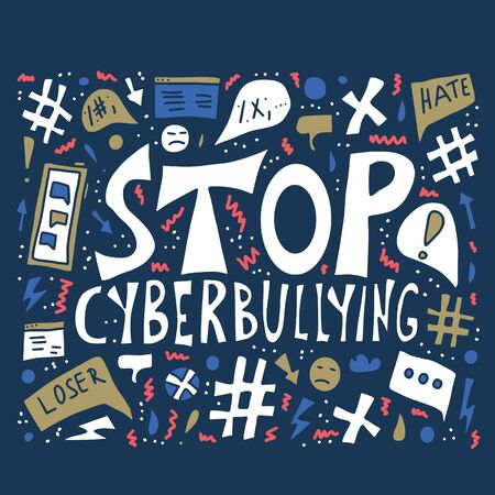Stop cyberbullying phrase with design elements.  Poster template with online abuse quote. Vector text about internet hate.  イラスト・ベクター素材