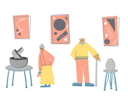 Museum visitors. Senior man and woman standing full lengt. Elderly character walking at contemporary art gallery. Vector characters design in flat style.