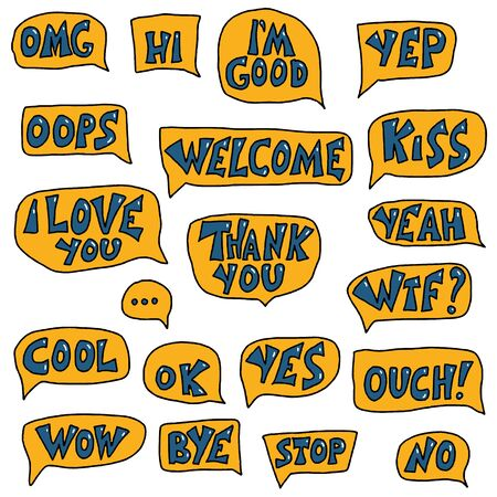 Ok, yep, wow, omg, welcome, cool, thank you, yes, hi, I'm good, I love you, bye,no, stop lettering.  Vector textured text with speech bubbles isolated on white background. Illustration