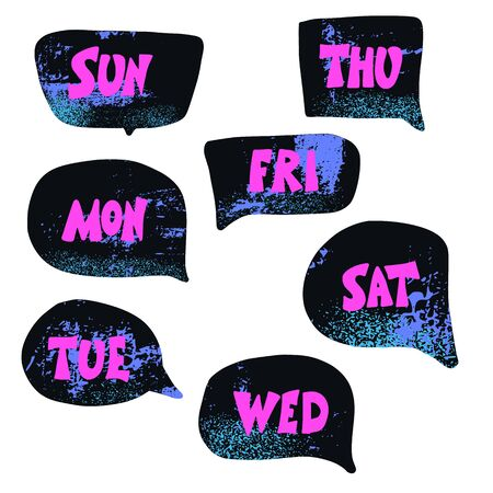 Days of the week lettering. Set of stylized words. Vector illustration.