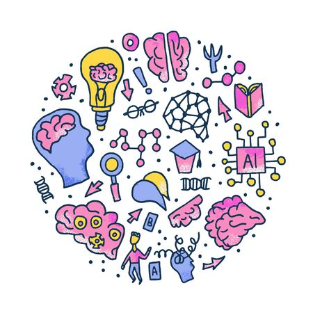 Cognitive science round concept. Set of vector elements in doodle style. Stock Illustratie