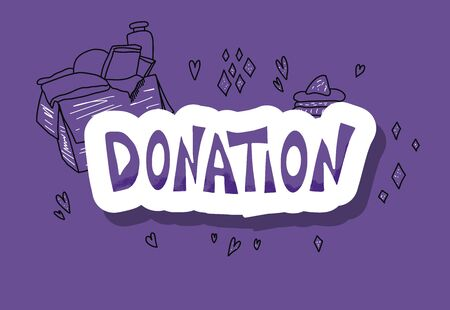 Donation concept with sticker word.  Vector color illustration.
