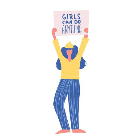 Activist. Protesting person standing  with placard Girl can do anything. Young woman holding blanks of banners and placards. Lady take part of rally, parade. Vector illustration. Illusztráció