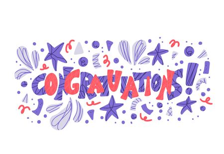 Congratulations.  Hand drawn quote for greeting card design. Vector stylized lettering with holiday decorations.