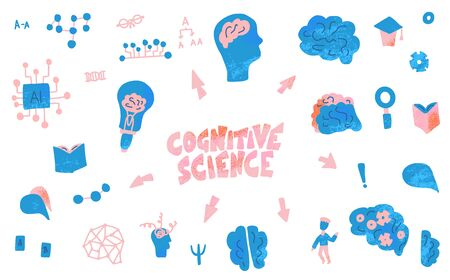 Cognitive science concept. Set of vector elements in doodle style.