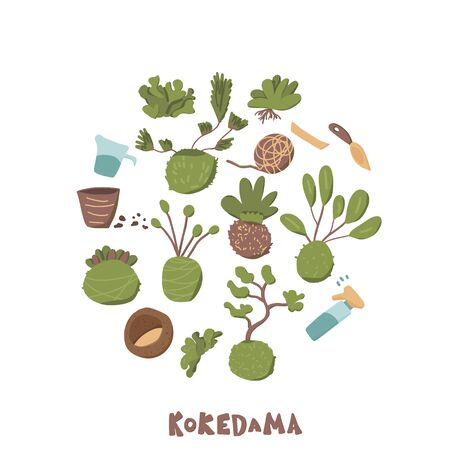 Kokedama set. Round composition. Green plant collection with tools and text. Vector illustration.