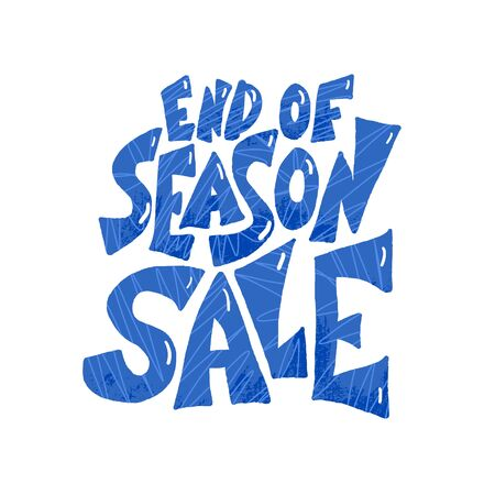 End of season sale lettering isolated. Promo message on white background. Vector typoggraphy for banner design.