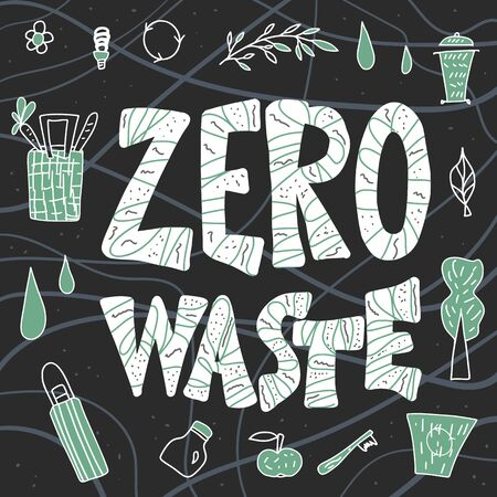 Zero waste concept. Ecological lifestyle emblem with lettering. Vector recycle, reuse and reduce poster template.