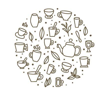 Tea round badge set. Cups and kettele. Hot beverage stuff. Vector illustration.
