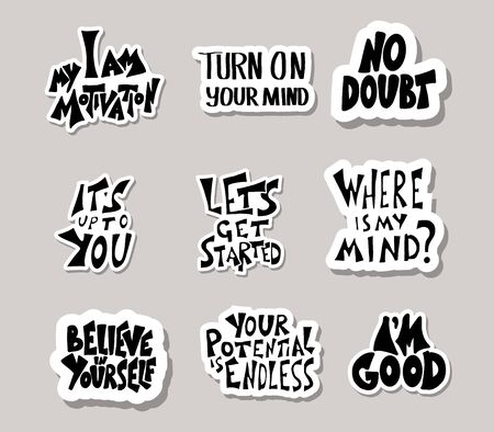 Set of stickers quotes isolated.  Vector black and white design text collection. 写真素材 - 129266099
