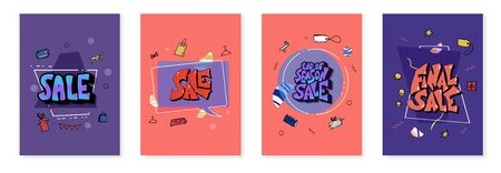 Sale banners set. Stylized promotion lettering with geometric decoration and promo symbols. Templates for advertising card. Vector illustration.