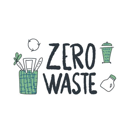 Zero waste vector emblem with lettering. Ecological lifestyle poster template. Illustration