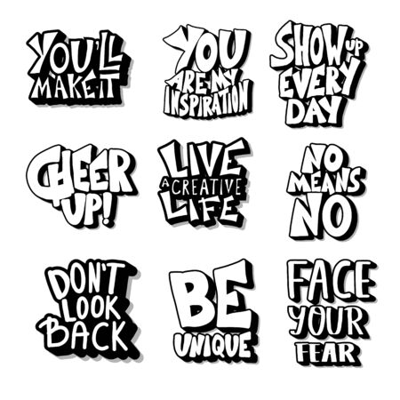 Set of quotes isolated. Motivational hand drawn lettering collection. Inspirational poster stylized phrases. Vector text illustration. Иллюстрация