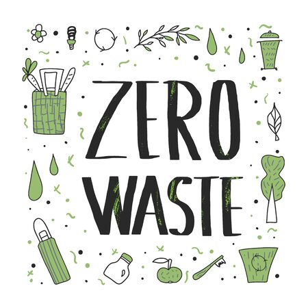 Zero waste phrase. Ecological banner with lettering. Vector recycle, reuse and reduce poster template. Illusztráció