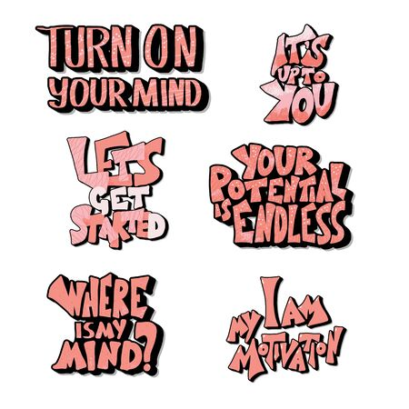 Set of quotes isolated. Motivational hand drawn lettering collection. Inspirational poster stylized phrases. Vector illustration. 写真素材 - 129264574