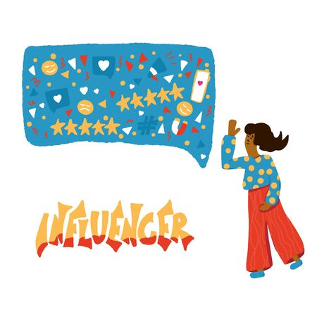 Influencer concept. Stylized word with speech bubble and young woman. Template for social media with marketing text.