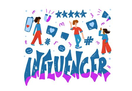 Influencer emblem. Stylized word with young women and bloggers symbols. Template for social media with marketing text.