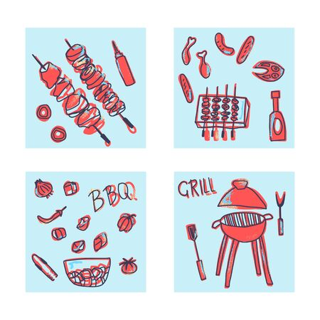 Barbecue square card compositions with cookout symbols and text. BBQ set with handdrawn lettering. Summer outdoor cooking elements. Vector conceptual illustration.