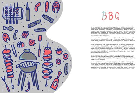 Template of banner with barbecue composition with text. BBQ set with handdrawn lettering. Cookout symbols. Summer outdoor cooking elements. Vector barbecue illustration. 일러스트