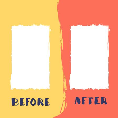 Before and After template. Comparison banner with copy space. Vector illustartion.
