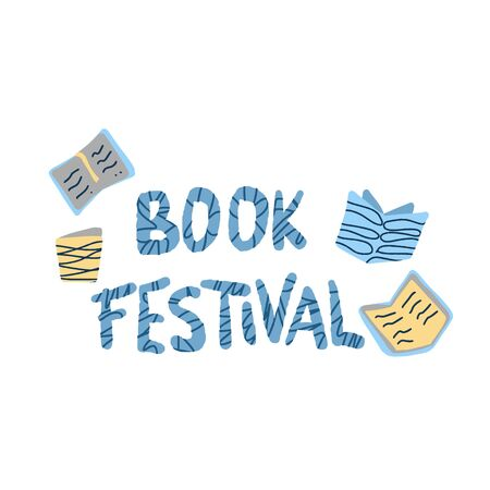 Book festival concept. Lettering with books in doodle style. Symbols of reading emblem isolated on white background. Vector illustration.