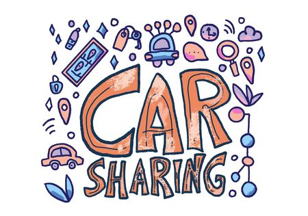 Car sharing concept. Hand lettering with symbols. Vector illustration.