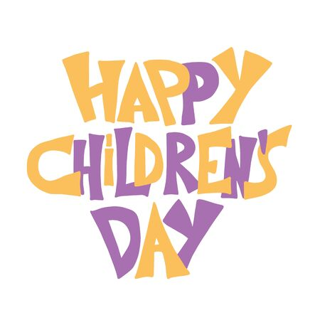 Happy childrens day text. Vector hand drawn illustartion emblem.