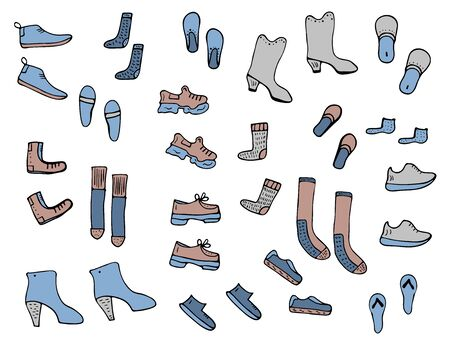 Set of shoes in doodle style. Footwear collection. Vector illustration.