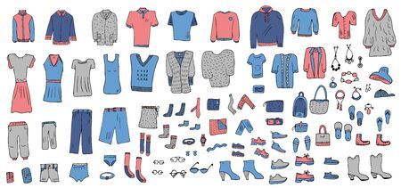 Set of clothes in doodle style. Apparel collection. Vector illustration.