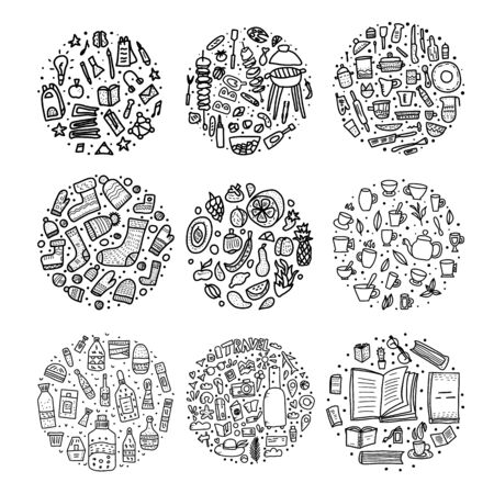 Set of round badges with doodle illustration. Hand drawn icons. Vector collection.  イラスト・ベクター素材