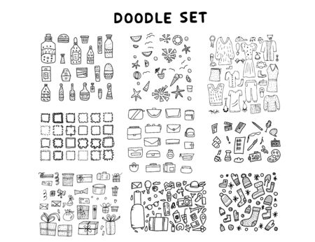 Set of doodle illustration. Hand drawn icons. Vector collection.