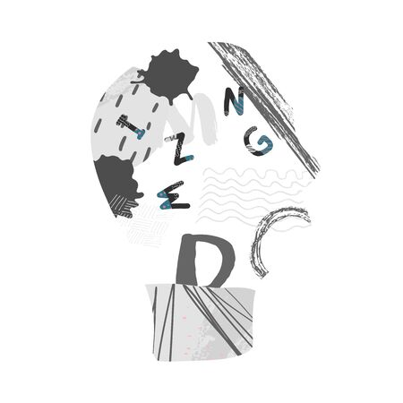 Mental disease concept. Vector sign with stylized letters.